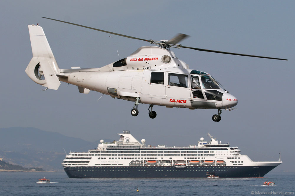 3A-MCM AS365N Heli Air Monaco @ Monaco 24May07 - Cruise ship VEENDAM
