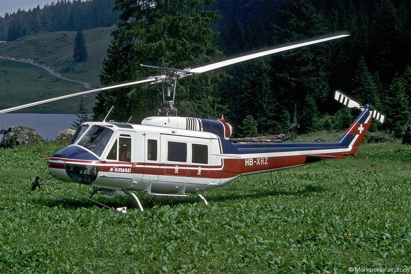 HB-XRZ Bell 205A-1 Kiwag @ Thalalp Switzerland 12Aug91
