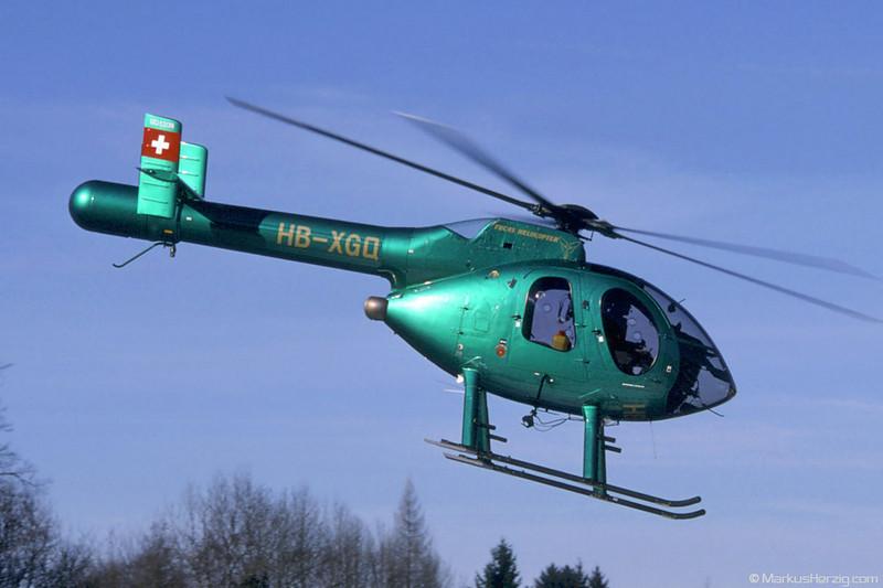 HB-XGQ MD520N Fuchs Helikopter @ Schindellegi Switzerland 11Feb98