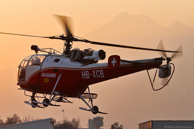 HB-XCB SA316B Air Glaciers @ Sion Switzerland 11Jan12