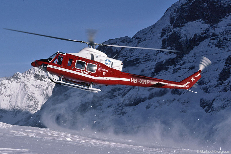 HB-XRP Bell 412 Air Zermatt @ Lauberhorn Switzerland 21Jan95