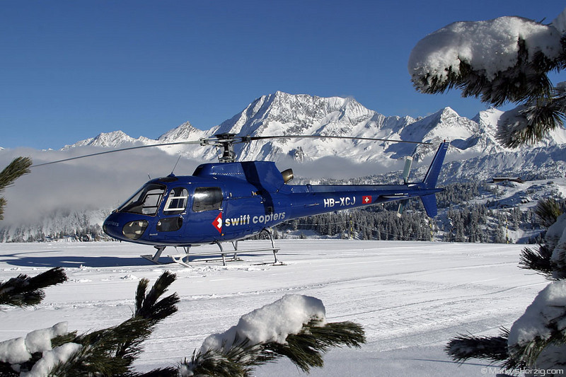 HB-XCJ AS350B2 Swift Copters @ Courchevel France 29Dec03