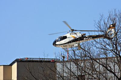 AirCare One landing on the University of Iowa Hospital helipad.