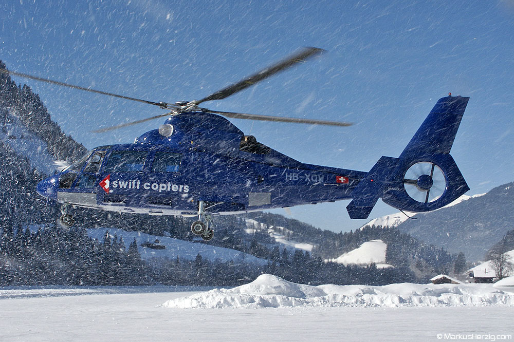 HB-XQW SA365N Swift Copters @ Saanen Switzerland 15Feb03