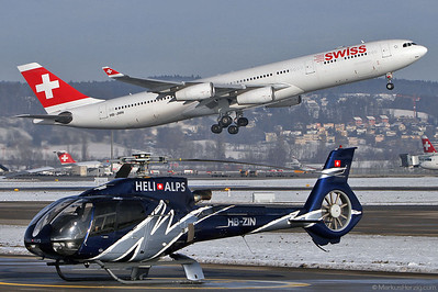 HB-ZIN EC130B4 Heli Alps - HB-JMN A340 Swiss @ Zurich Switzerland 23Jan13