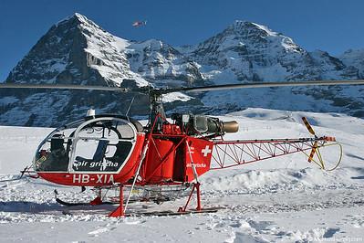 HB-XIA SA315B Lama Air Grischa @ Kleine Scheidegg Switzerland 14Jan06 - Eiger 3970m, Mönch 4107m