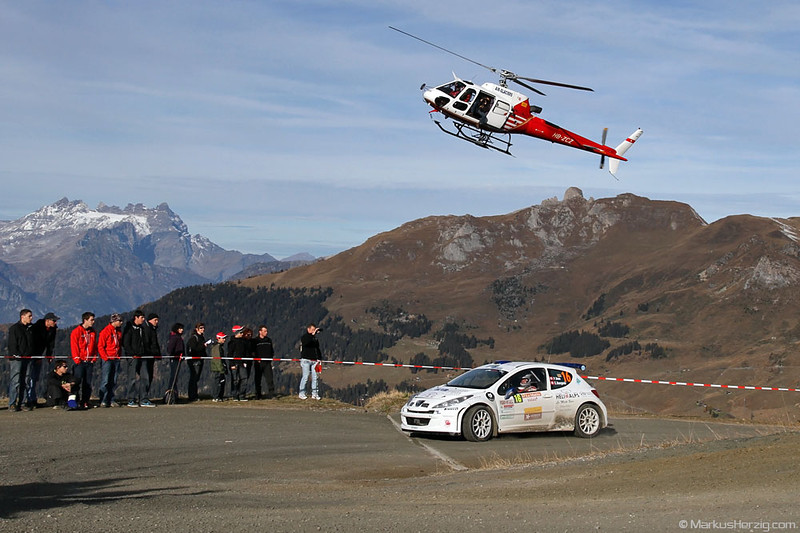 HB-ZCZ AS350B3 Air Glaciers - Peugeot 207 S2000 Philippe Roux SUI @ RIV Croix-des-Ruinettes Switzerland 29Oct11