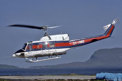 OY-HMB Bell 212 SL Helicopters @ Torshavn Faroe Islands 17Jul87