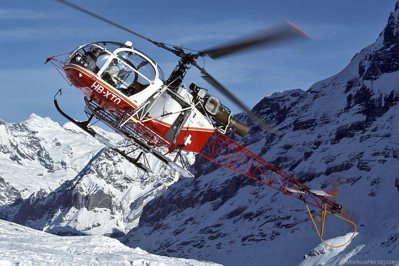 HB-XTO SA315B Air Glaciers @ Lauberhorn Switzerland 22Jan94
