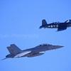 McDonnell Douglas F/A-18 F Super Hornet and Vought F4U Corsair