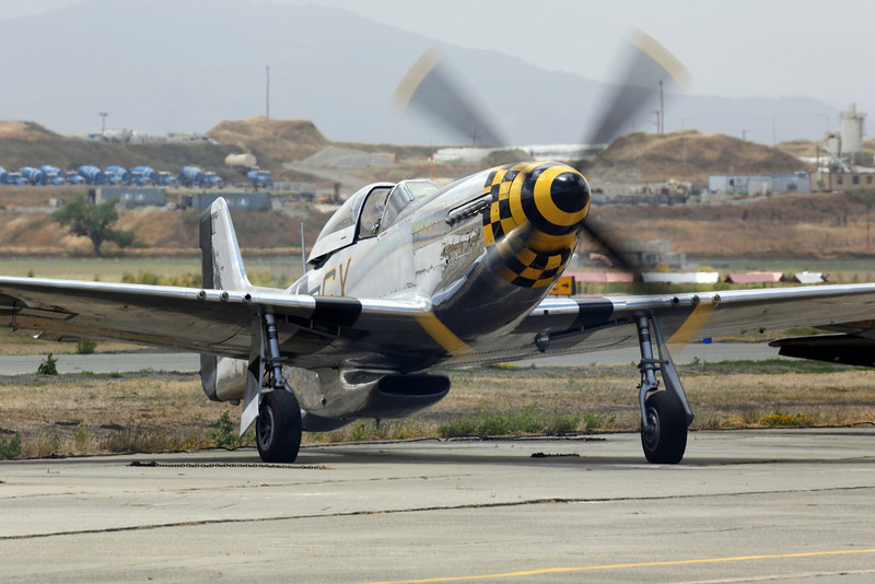 "P-51D Mustang ""Kimberly Kaye"" starting it's engine at Hollister CA, KCVH"