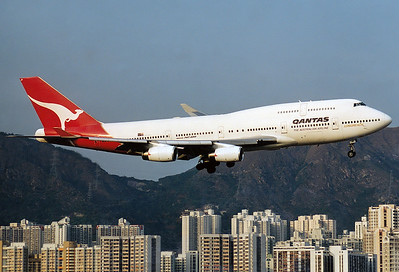 Qantas Boeing 747-438 	 Hong Kong - Kai Tak International (HKG / VHHH) (closed) China - Hong Kong, February 1998  VH-OJP (cn 25545/916) Short final for Rwy 13.