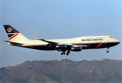 British Airways Boeing 747-436  	Hong Kong - Kai Tak International (HKG / VHHH) (closed) China - Hong Kong, February 1998 Reg: G-CIVL   Cn: 27478/1108 Catching the last rays of sunshine on the IGS approach RWY 13.