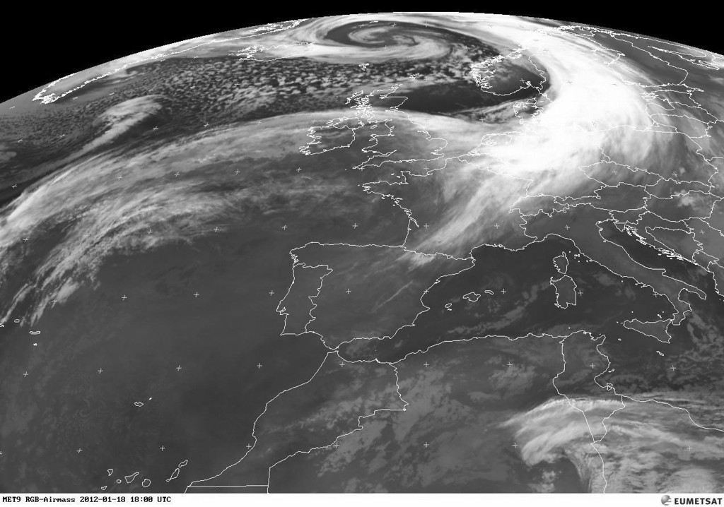 Meteosat satellite photo of January 18th 2012. A real low pressure system, anticlockwise, in front of Scandinavia.<br /> <br /> Copyright 2012 EUMETSAT