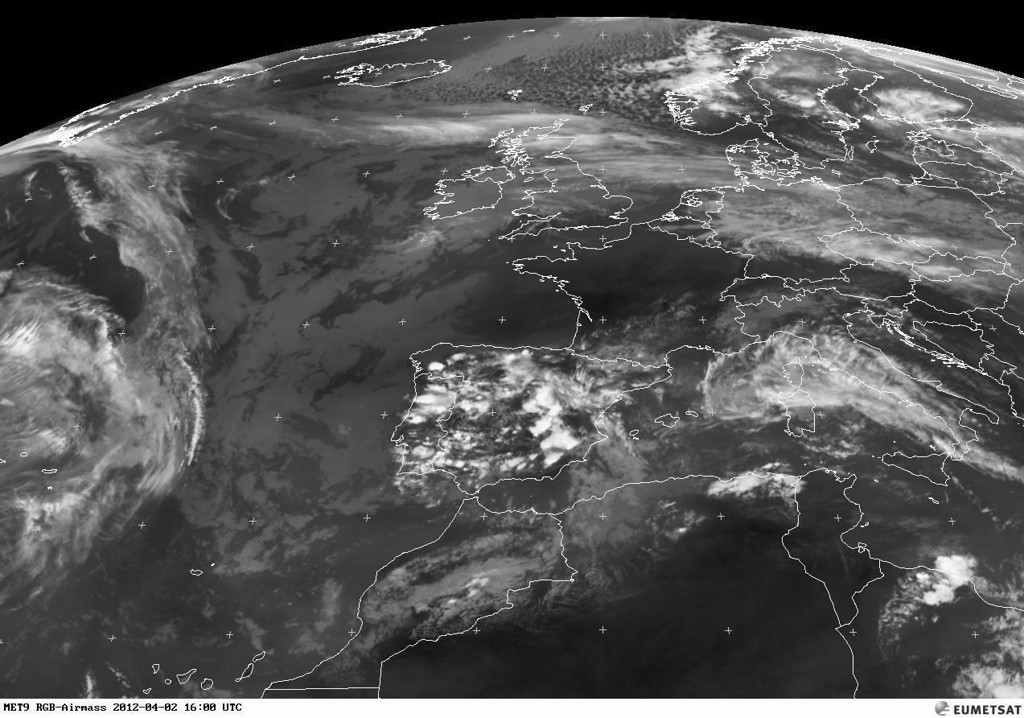 Notice the contrast of the CB's building over Portugal and Spain.<br /> <br /> Copyright 2012 EUMETSAT<br /> <br /> TAF LEMD 021700Z 0218/0318 24010KT 9999 SCT045 TX19/0218Z TN09/0306Z PROB30 <br />       TEMPO 0218/0220 SHRA SCT040CB <br />       BECMG 0218/0220 VRB04KT <br />       BECMG 0310/0312 22012KT <br />       TEMPO 0312/0318 SHRA SCT040TCU PROB30 <br />       TEMPO 0314/0318 3000 TSRA SCT030CB BKN040