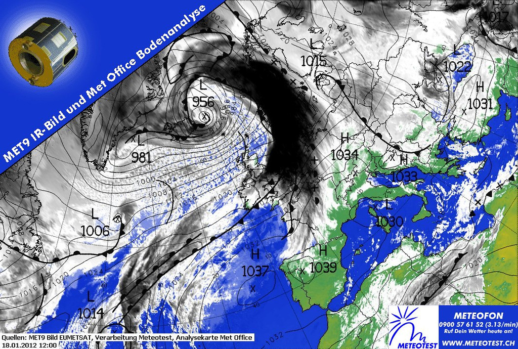 Weather chart of January 18th 2012. A real low pressure system, anticlockwise, in front of Scandinavia. Notice the closely spaced isobars, meaning very strong winds will be present.<br /> <br /> As an example  Vagar, one of the Faeröer islands, has the following horrifying METAR:<br /> <br /> EKVG 181211Z 28033G75KT 230V320 9999 BKN020CB 03/M02 Q0985 MIN WIND 850FT 06KT WIND THR 12 28025G51 200V320 RMK WIND 850FT 29040G95KT 220V320=<br /> <br /> Info courtesy of 2012 EUMETSAT, Meteotest and Met Office.