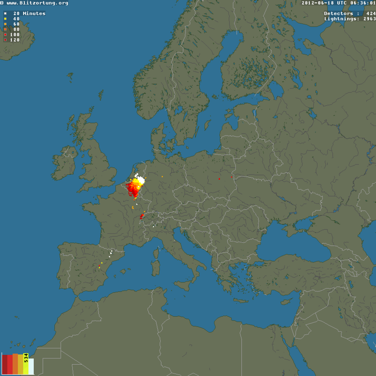 "June 18th, 2012. The lightnings associated with the satellite image of above.<br /> It confirms the intensity of the thunderstorm, and the use of such lightning information.<br /> <br /> Source:  <a href=""http://www.blitzortung.org"">http://www.blitzortung.org</a>"