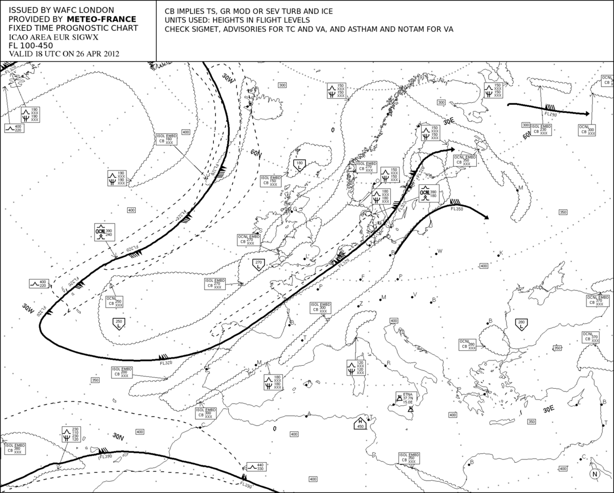 April 26th 2012.<br /> <br /> An upper Significant Weather Chart clearly confirms the jetstream of the picture above. A huge jetstream jetstream crossing Europe from SW to NE with speeds off 120 kts and more.