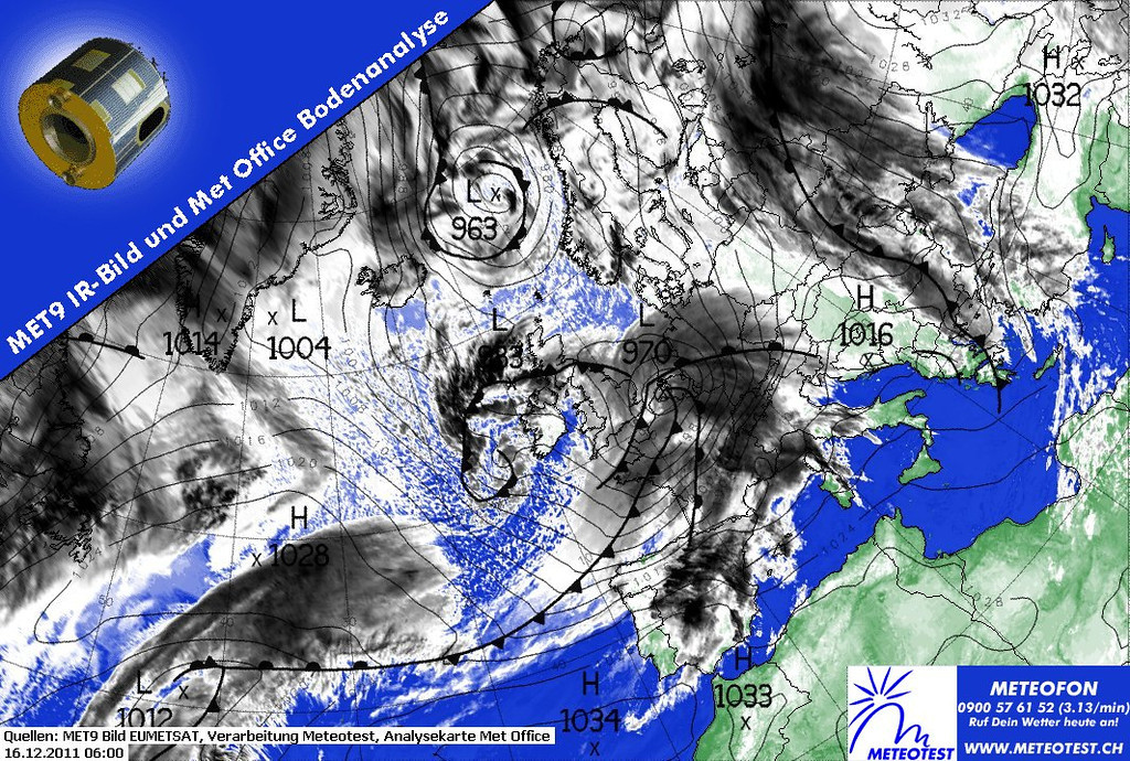 Have a look at this one.  A real Low pressure system (970) moving eastbound over France.  This system is a synonym for real bad weather.  The Metars of Paris Orly below show a period of several hours around this significant weather chart of 0600 UTC.<br /> <br /> LFPO 160800Z 26014KT 9999 FEW013 BKN030 09/08 Q0980 NOSIG=<br /> LFPO 160730Z 28015KT 9999 -RA SCT013 BKN043 10/09 Q0980 NOSIG=<br /> LFPO 160700Z 28018KT 8000 RA FEW014 BKN036 10/10 Q0980 NOSIG=<br /> LFPO 160630Z 28025G35KT 6000 RA SCT012 BKN020 10/10 Q0980 NOSIG=<br /> LFPO 160600Z 22024G39KT 6000 -RA OVC011 13/12 Q0978 TEMPO 23025G45KT 3000 +RA BKN004=<br /> LFPO 160530Z 22024G40KT 6000 -RA OVC011 13/12 Q0979 TEMPO 3000 +RA BKN004=<br /> LFPO 160500Z 22023G35KT 190V250 6000 -RA OVC010 13/12 Q0980 NOSIG=<br /> LFPO 160430Z 22022G37KT 190V250 7000 -RA SCT008 BKN011 12/12 Q0981 NOSIG=<br /> LFPO 160400Z 22021G36KT 190V250 6000 -RA SCT008 BKN011 12/11 Q0982 TEMPO 22025G40KT 3000 RA BKN003=<br /> LFPO 160330Z 22020G35KT 6000 -RA SCT008 BKN011 12/11 Q0983 TEMPO 22025G40KT 3000 RA BKN003=<br /> LFPO 160300Z 22021G35KT 6000 RA SCT008 BKN010 11/11 Q0984 TEMPO 22025G40KT 3000 RA BKN003=<br /> LFPO 160230Z 21024G38KT 6000 RA SCT008 BKN011 11/10 Q0985 TEMPO 22025G40KT 3000 RA BKN003=<br /> LFPO 160200Z 22023G38KT 190V250 6000 RA BKN012 11/10 Q0986 TEMPO 22025G40KT 3000 RA BKN003=<br /> <br /> Info courtesy of 2011 EUMETSAT, Meteotest and Met Office.
