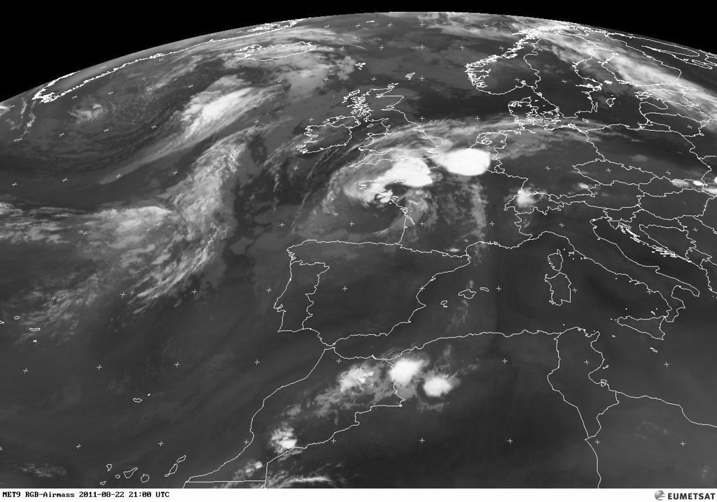 An older satellite image of the summer of 2011. Notice the huge contrast of the CB's present over Belgium and France. A few days earlier a similar situation 'surprised' the festival of Pukkelpop.<br /> <br /> Copyright 2011 EUMETSAT