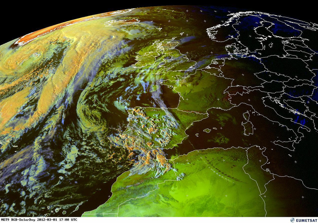 Beautiful how the shadow of some clouds over Algeria can be seen from space.<br /> <br /> Copyright 2012 EUMETSAT