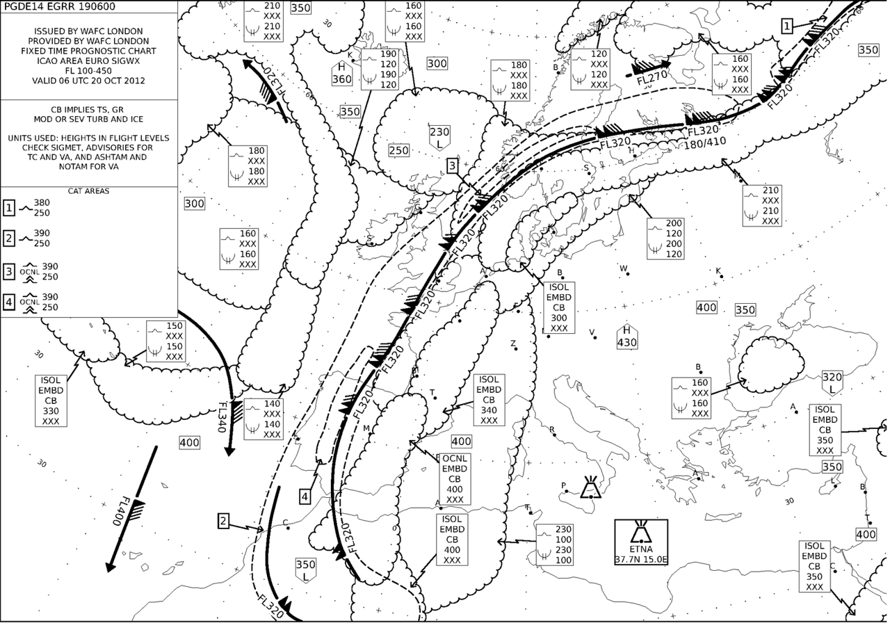 October 20th 2012.<br /> <br /> An upper Significant Weather Chart shows a huge jetstream jetstream crossing Europe from SW to NE. It slowly enters Europe and reaches speeds of 150 kts. <br /> <br /> Toulouse had interesting METARS last night.<br /> <br /> LFBO 191600Z AUTO 30005KT 250V320 9999 OVC018 18/15 Q1009=<br /> LFBO 191530Z AUTO 29007KT 260V330 9999 OVC022 18/15 Q1009=<br /> <br /> LFBO 190000Z AUTO 11031G46KT 9999 NSC 20/14 Q1005=<br /> LFBO 182330Z AUTO 12038G52KT 9999 NSC 20/14 Q1005=<br /> LFBO 182300Z AUTO 12040G59KT 9999 NSC 20/15 Q1005=<br /> LFBO 182230Z AUTO 12037G54KT 9999 NSC 20/15 Q1005=<br /> LFBO 182200Z AUTO 12038G53KT 9999 NSC 20/15 Q1005=<br /> <br /> LFBO 181600Z AUTO 11029G47KT 9999 OVC017 20/15 Q1004=<br /> LFBO 181530Z AUTO 11028G41KT 9999 OVC017 20/15 Q1005=<br /> LFBO 181500Z AUTO 11027G42KT 9999 OVC018 20/15 Q1005=
