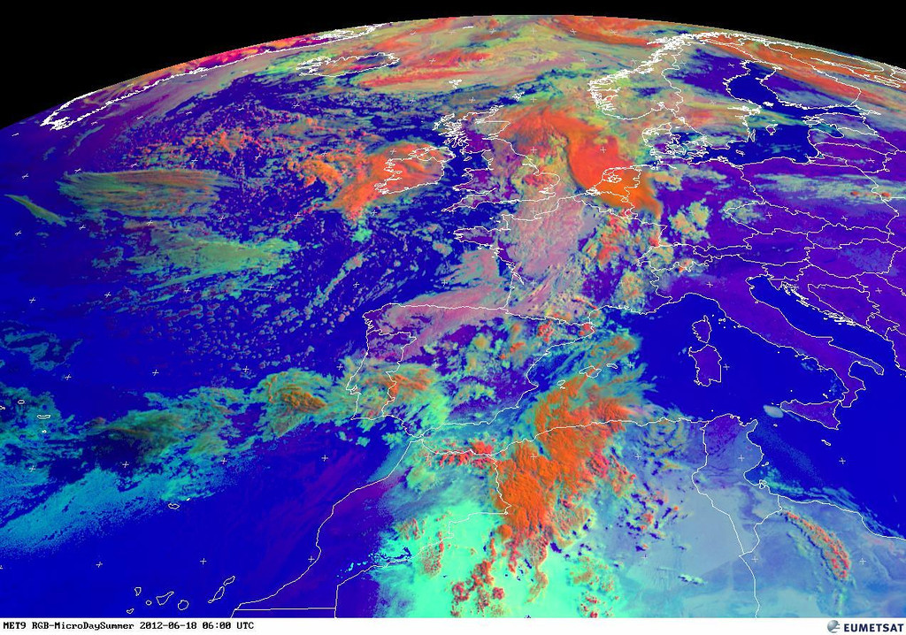 Same view using the RGB satellite picture, showing the bright orange dangerous stuff. Picture of 0600 UTC.<br /> <br /> Copyright 2012 EUMETSAT