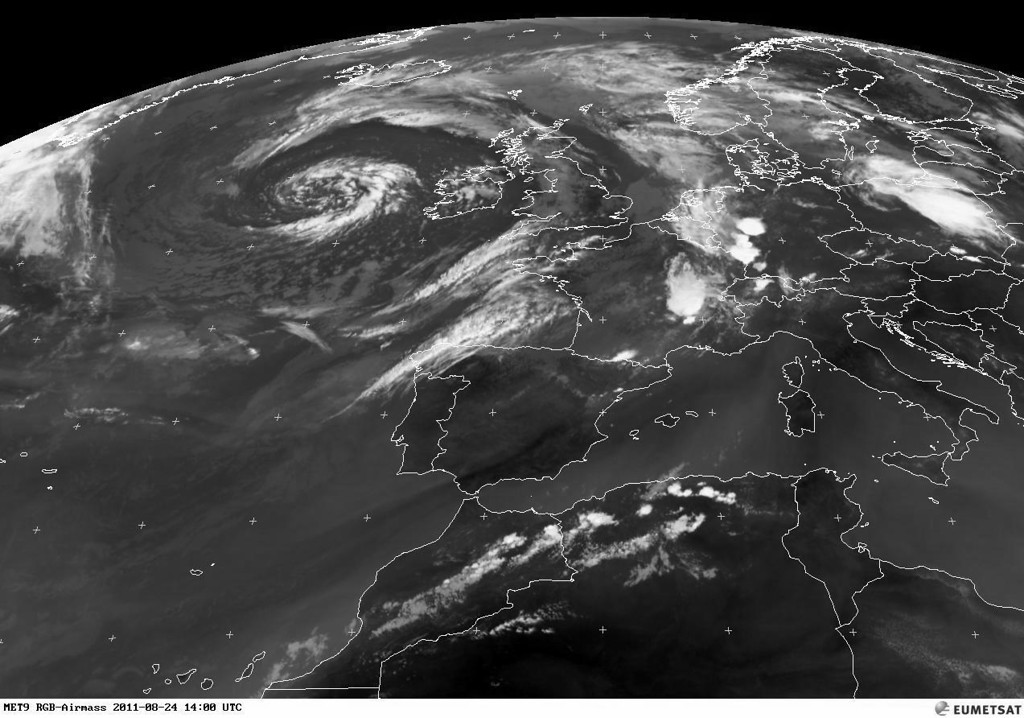 Although the satellite image is a few hours old, the presence of serious TS is visible in the southwest of Germany.<br /> <br /> Copyright 2011 EUMETSAT