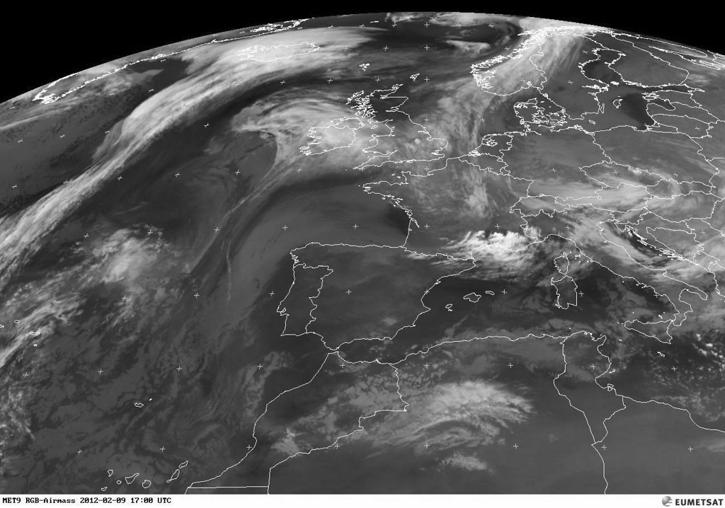 Some serious stuff developping over the south of France. The bright white color indicates high cloud tops<br /> <br /> Copyright 2012 EUMETSAT