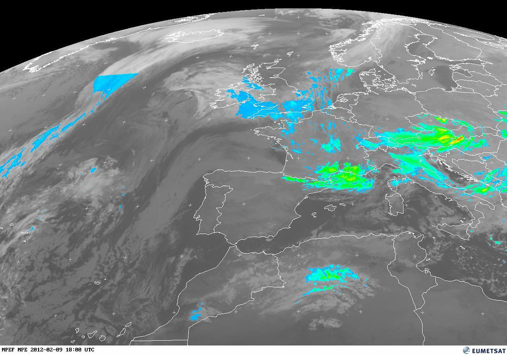 Same shot, this time the MPE version at 1800 UTC. The forecast also explains the colors.<br /> <br /> TAF 091700Z 0918/1024 32020G30KT CAVOK <br /> BECMG 0918/0921 34030G40KT TEMPO 0918/1003 34040G55KT<br /> BECMG 1003/1006 34020KT SCT030 BKN100 BECMG 1008/1010 34010KT SCT020 BKN030<br /> TEMPO 1010/1018 2000 SN SCT010 OVC020 TX03/1015Z TNM04/1006Z<br /> <br /> Copyright 2012 EUMETSAT