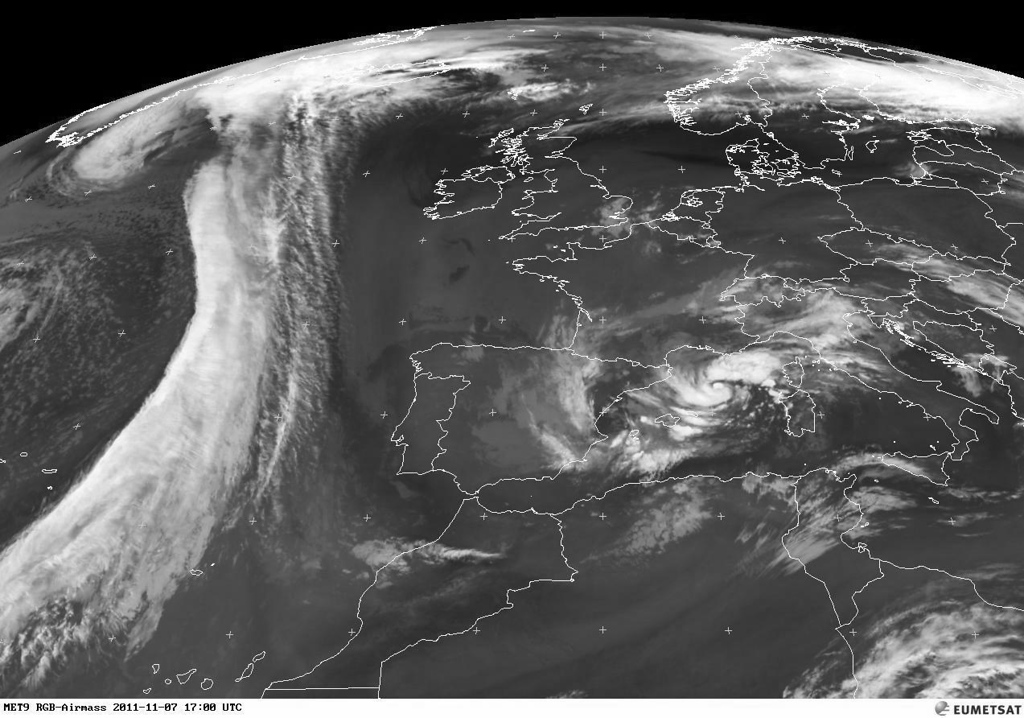 "That's what we call ""a front"" over the Atlantic. Invading Europe in the coming days.<br /> <br /> Copyright 2011 EUMETSAT"
