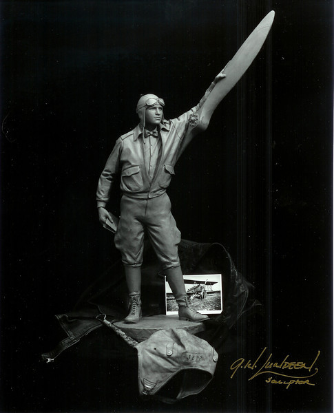 Sculpture of Captain Jepp in his early days of flying.