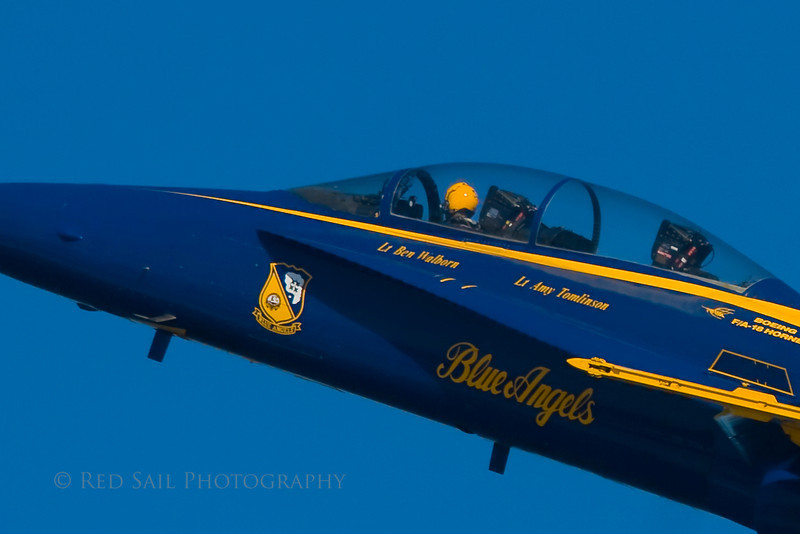 The Blue Angels. I noticed there are two #7 jets and both carry two pilots. Here is Lt. Ben Walborn. Lt. Amy Tomlinson must have the day off. These pilots are quite special.