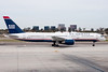 A US Airways 757 taxiing to its gate.