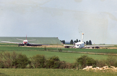 Comet 4 G-APYC and VC10 G-AXLR (RB211 Test Bed) at Kemble c.1980