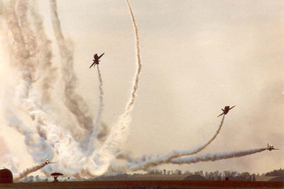 Red Arrows Hawk aircraft at Kemble c.1980