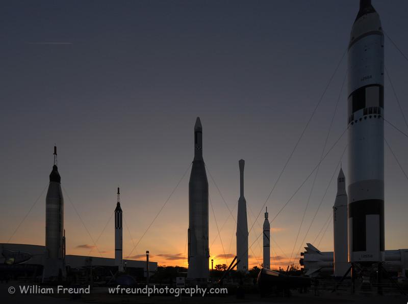 Rocket garden at sunset.