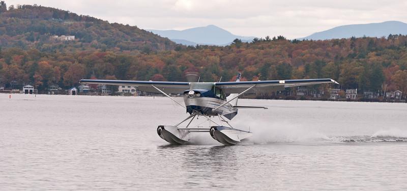 Lakes Region Seaplane Services Cessna 206 on step. Foliage season October 23, 2011.
