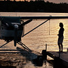 Lakes Region Seaplane returning after a sunset flight over Lake Winnipesaukee.