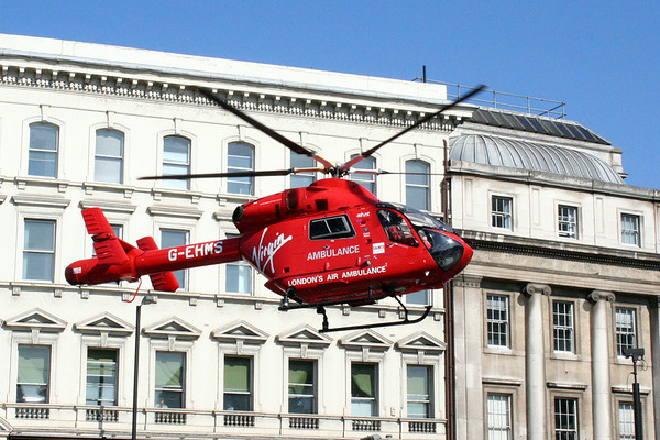 2 June 2011<br /> London Air Ambulance landing at the south end of London Bridge.
