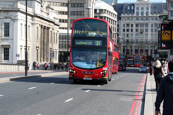 2 June 2011<br /> Buses reversing across London Bridge following the bridge closure.