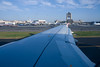 Wing view of Logan Airport.