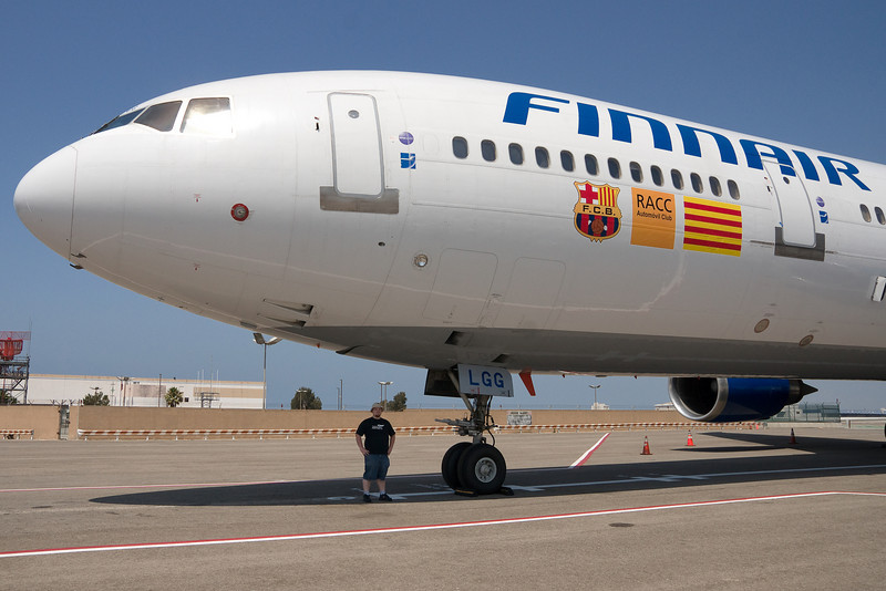 Finnair ran a charter for the Barcelona football club to play at the Rose Bowl in Los Angeles. It is seen here parked at the Flight Path Museum at LAX.