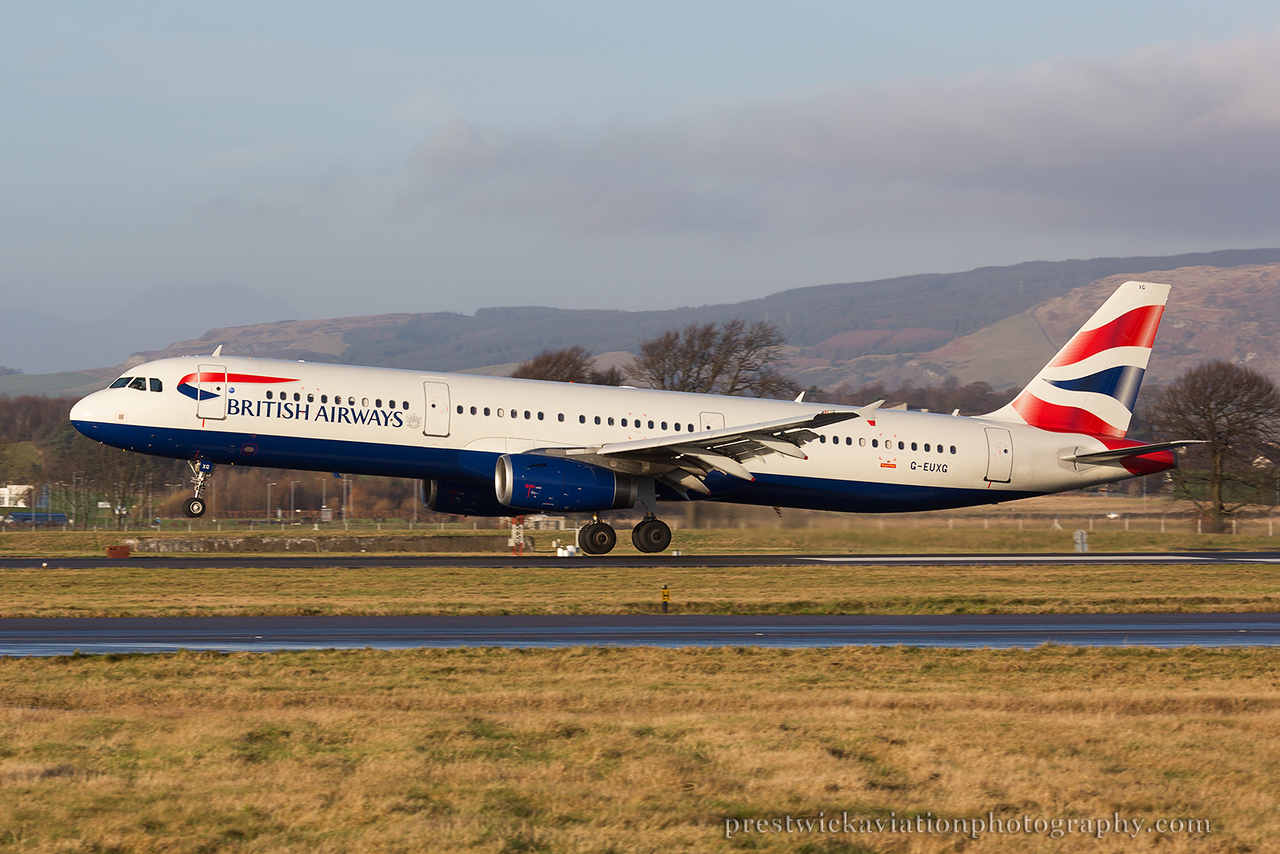 G-EUXG. Airbus A321-231. British Airways. Glasgow. 301214.