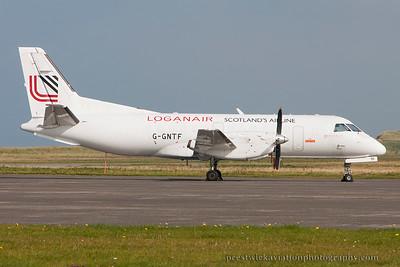 G-GNTF. Saab 340A(QC). Loganair. Benbecula. 110914.