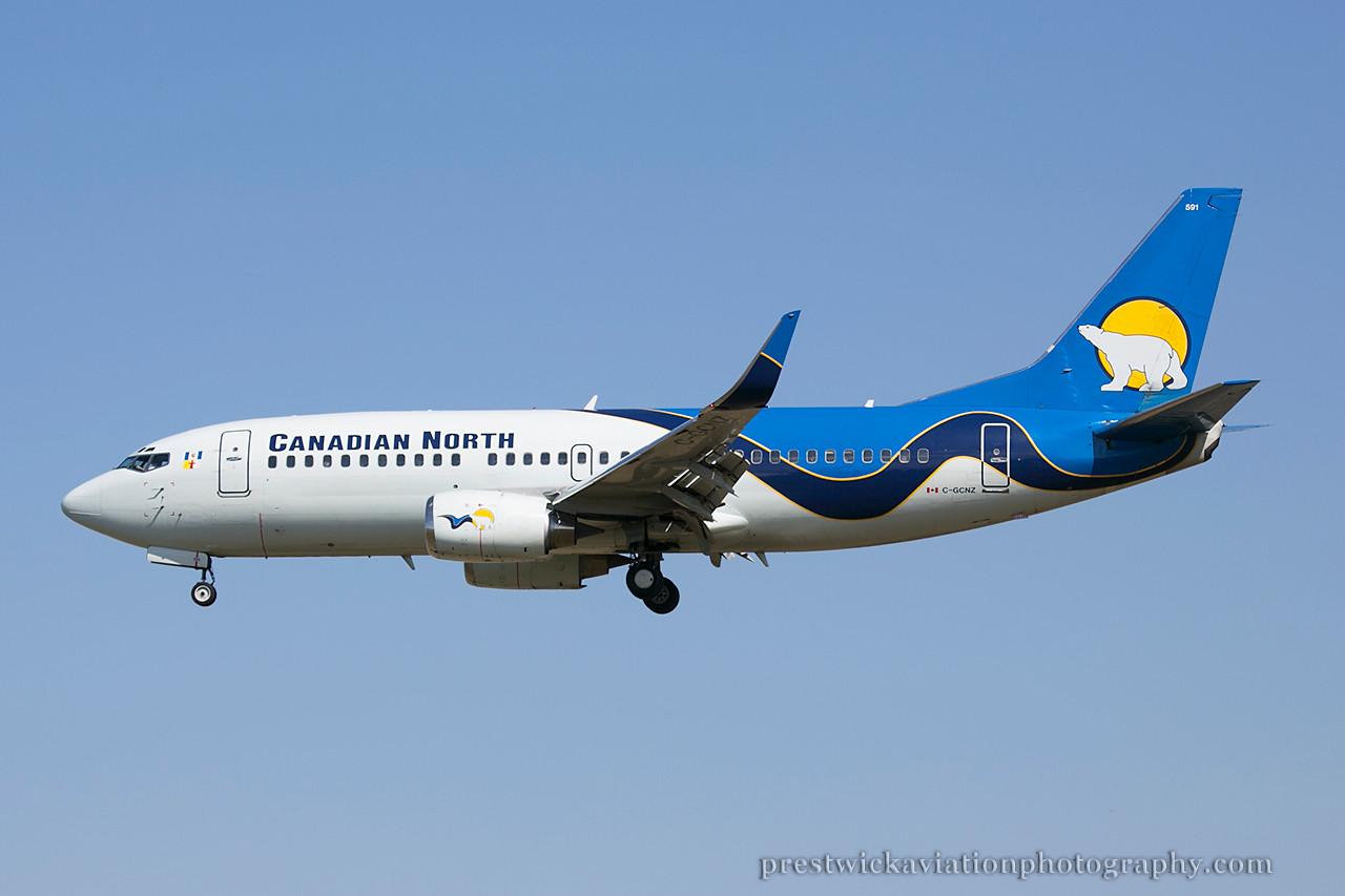 C-GCNZ. Boeing 737-36Q. Canadian North. Calgary. 120514.