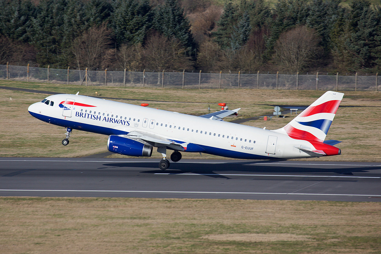 G-EUUF. Airbus A320-232. British Airways. Edinburgh. 250214.