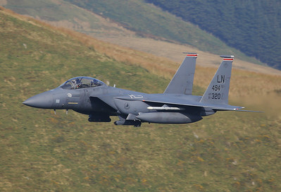 USA - Air Force McDonnell Douglas F-15E Strike Eagle - Machynlleth Loop area UK - Wales, September 17, 2014 Reg: 91-0320 Code: LN Cn: 1227/E185 48th FW, 492nd FS 'Panthers' boss bird, one of a 4 ship flying through the 'Mach Loop', the USAFE crews call it the 'Roundabout'.