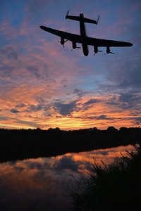 The Last One Home. A composite of a Lancaster and a classic Lincolnshire sunset