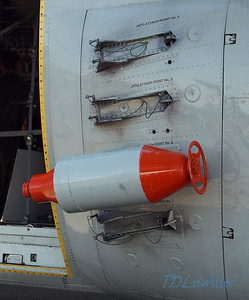 MacDill 2010   LC-130 JATO bottle.  JATO = Jet Assisted Take Off,  also called RATO = Rocket Assisted Take Off.  JATO/RATO bottles are used to provide extra thrust to help large, heavy aircraft reach flying speed in a shorter distance.